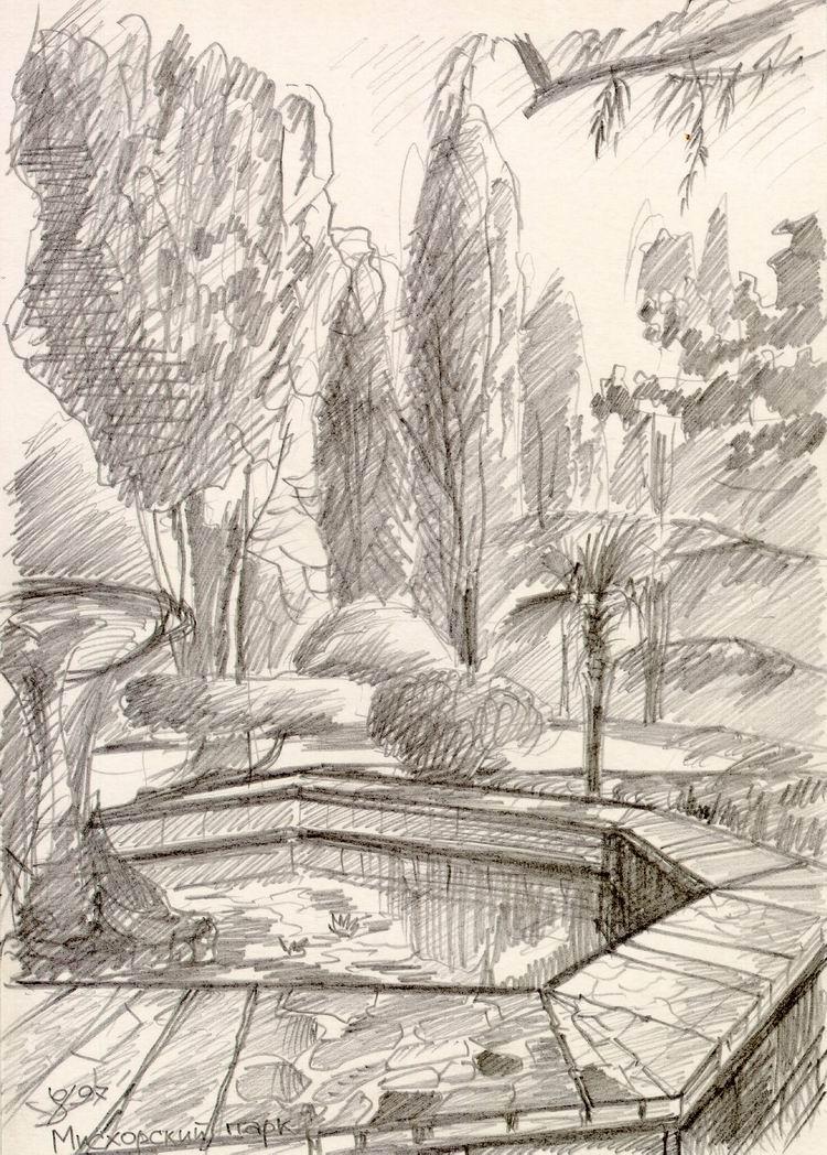Рисунок карандашом фонтан в