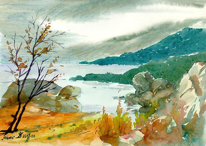живопись акварелью пейзаж: